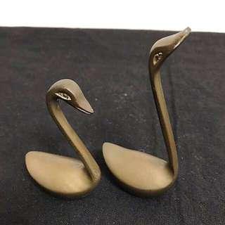 古董純銅天鵝 一對