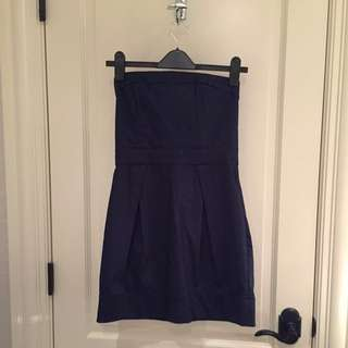 Navy Blue French Connection Mini Strapless Dress