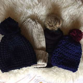 Chunky knitted Toques and warm winter hats with pompom
