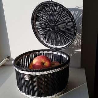 Black & White woven basket w lid