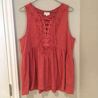 Anthropologie burnt orange sleeveless top