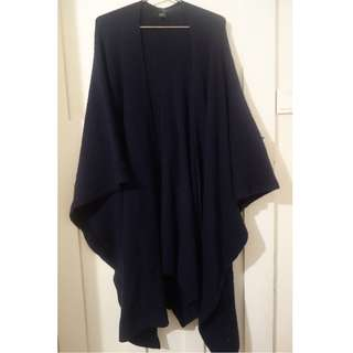 Saba navy wool ribbed poncho - one size