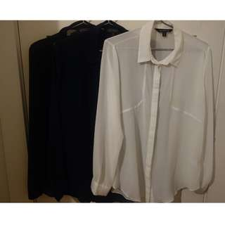 Glassons sheer shirts - black, navy and white - size 10