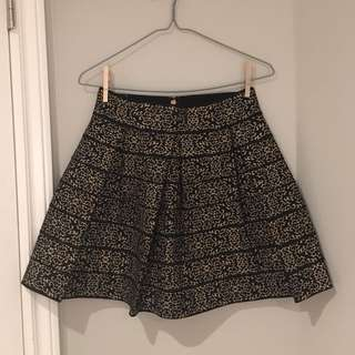 Guess black and gold scuba pleated skirt
