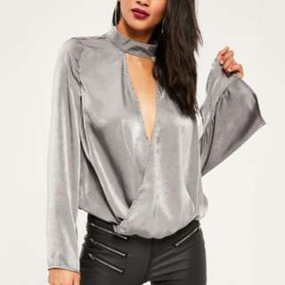Grey satin chocker neck split front wrap blouse