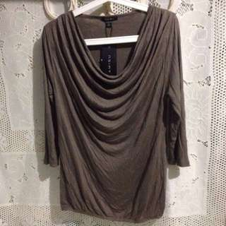 Brown Cowl Neck Top 3/4 Sleeves *Repriced