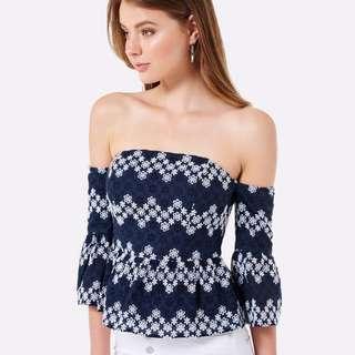 Forever new off shoulder top blue top