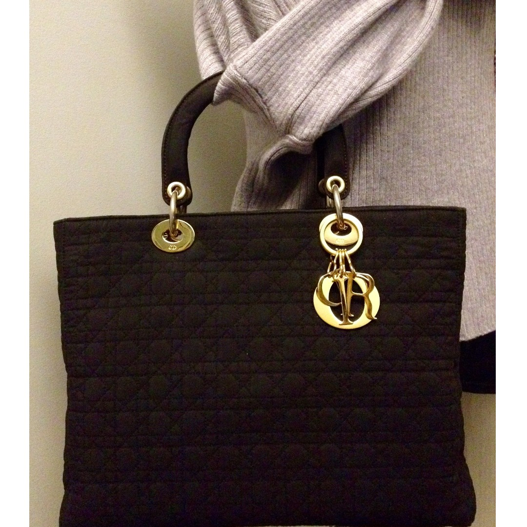 """100% Classic CD Christian Dior Lady Dior Black Cannage Quilted Gold Charm 10"""" Bag"""