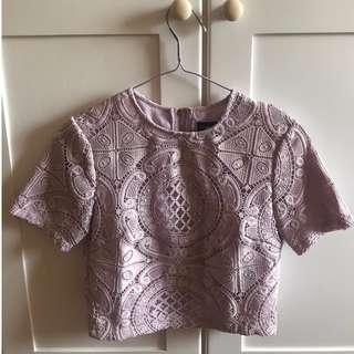 Elene Crochet Top in Lilac