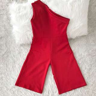Red Jumpsuit - Jumsuit Merah - One Shoulder