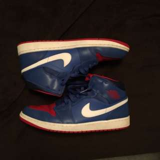 Jordan 1 Mid Blue Red and White Size 13