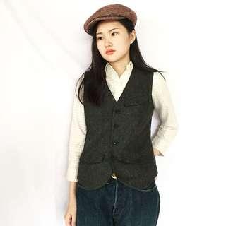 🌴90s灰色羊毛復古西裝背心 後腰調節帶 女款Vintage 日本帶回古著