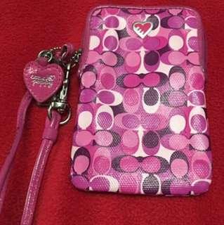 Pink Coach wristlet/phone holder
