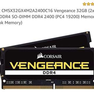 (NEW) Corsair Vengeance 32GB (16GBx2) 260-Pin DDR4 2400 (PC4 19200) SO-DIMM Notebook RAM