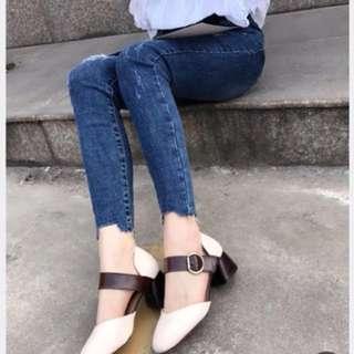 復古粗跟包鞋