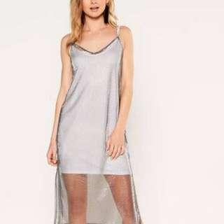Silver Mesh Slip Dress