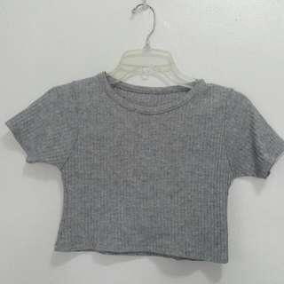Gray Ribbed Crop Top