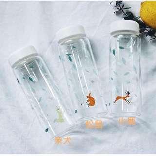 [新品]清新日系動物玻璃隨手杯與杯套組 450 ml