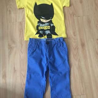 Take all for 180 blue pants and yellow shirt