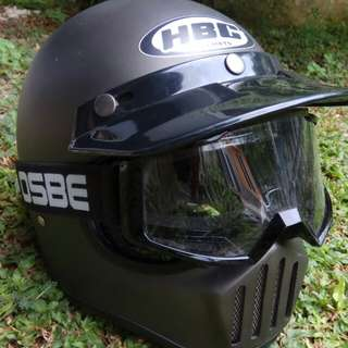 Helm Cakil + Goggle Tril