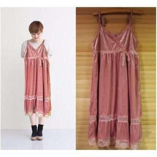 🚚 🔴日本帶回🔴日本限定 公主 夢幻感 內搭 外穿 都超美 ~杏粉 粉紅色 天鵝絨 蕾絲 蝴蝶結 綁帶 洋裝♥WOw