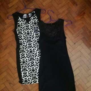 🌻H&M Black & White Printed Fitted Dress (Left)