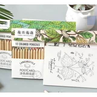 Colour your own postcard (Plants and Flowers)