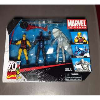*RARE* TRU EXCLUSIVE MARVEL UNIVERSE 3.75 INCH 3-PACK YELLOW DAREDEVIL, STEALTH IRON MAN, SILVER SURFER