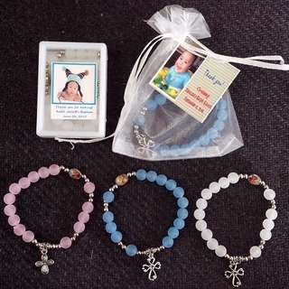 Smoked/Frosted Rosary Bracelet Souvenirs Giveaways for wedding baptismal birthday