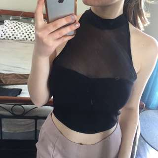 Black Crop top with mesh