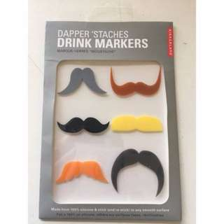 Drink Markers glass labels Moustache pack novelty fun