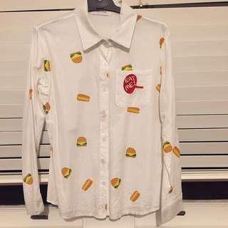 Super cute hamburger button up shirt