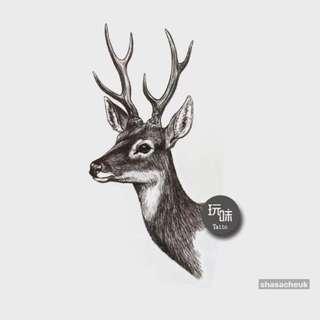 防水紋身貼紙 - 黑色麋鹿 動物 Tattoo Sticker - Black Elk / Deer