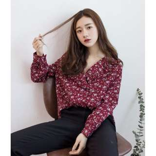 Korean Vintage Style- Red Floral Print Shirt #SELLMY1111