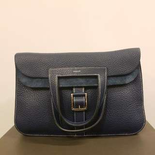 一口價 Hermes Halzan dark blue leather handbag