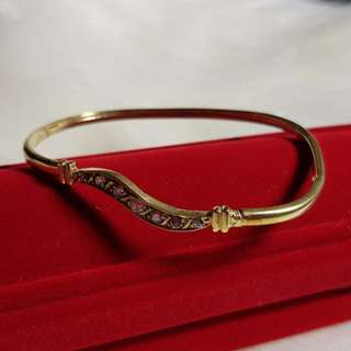 9ct Real Yellow Gold Bangle with White Zircons