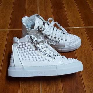 authentic philipp plein high top wedge platform sneakers with studs