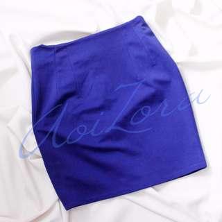 blue mini pencil skirt
