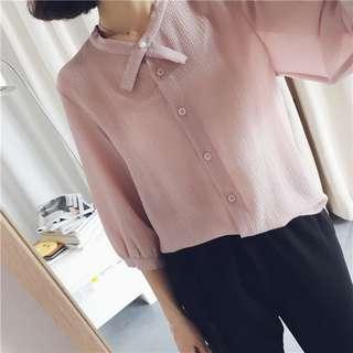 韓版立領雪紡薄款中袖簡約小清新粉色襯衫兩色-粉