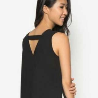 Zalora Collection Cut-Out Back Top (Black)