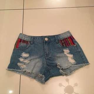 Tribal distressed shorts