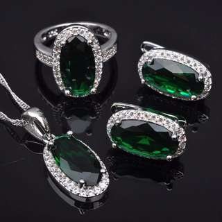 925 Silver  Elegant green stone set ( earrings ring and necklace )