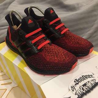 (US9.5) Adidas Ultra Boost  'Solar Red' (Custom Midsole)