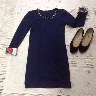 BUNDLE - Navy Blue Bodycon & Black Shoes