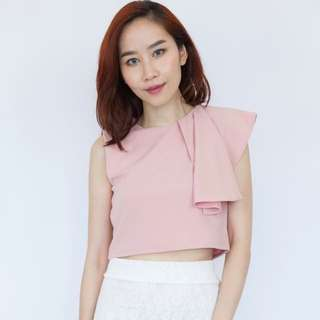 Draped Shoulder Top - Pink