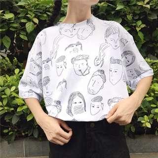 Ulzzang Harajuku Manga Face Print Tee Shirt Top