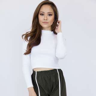 Long Sleeve Turtleneck Top - White