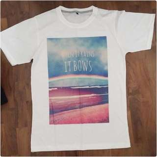 """ When it rains It bows "" white tshirt"