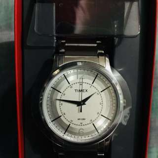 Timex watch with white and silver dial