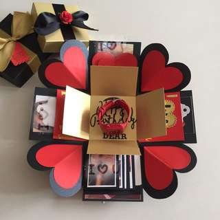 Explosion Box With big gift box for watch , 4 waterfall in black red & gold